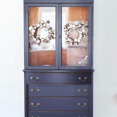 Coastal Blue Hutch Cabinet