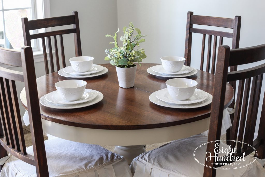 Round oak table with 3 chairs in General Finishes Java Gel Stain and Linen Milk Paint