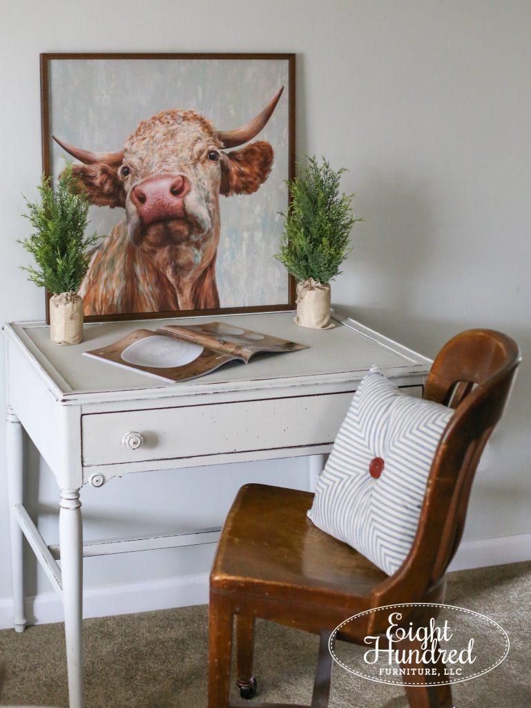 Oak farm table, desk in Grain Sack Milk Paint, Eight Hundred Furniture