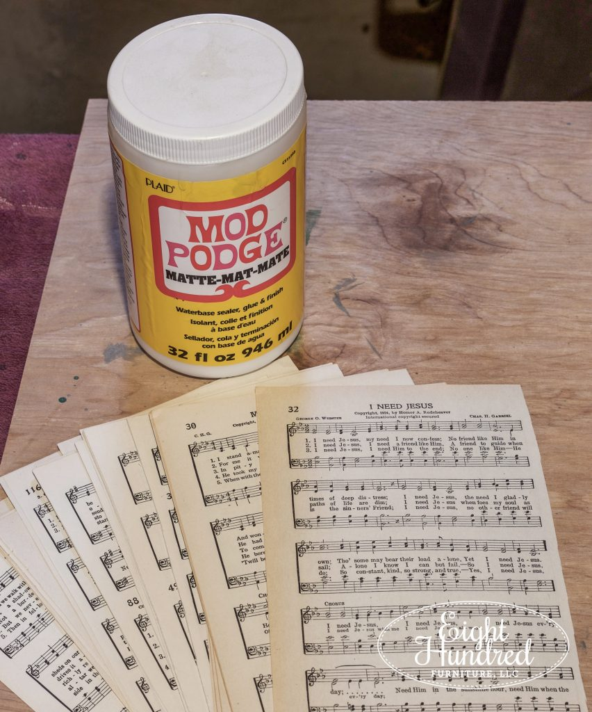 Mod Podge and Antique Sheet Music, Decoupage, Eight Hundred Furniture