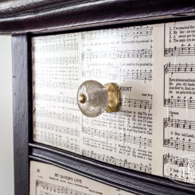 Lamp Black Dresser With Sheet Music