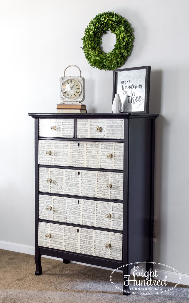 Tall dresser in Typewriter by Miss Mustard Seed's Milk paint with sheet music drawers by Eight Hundred Furniture