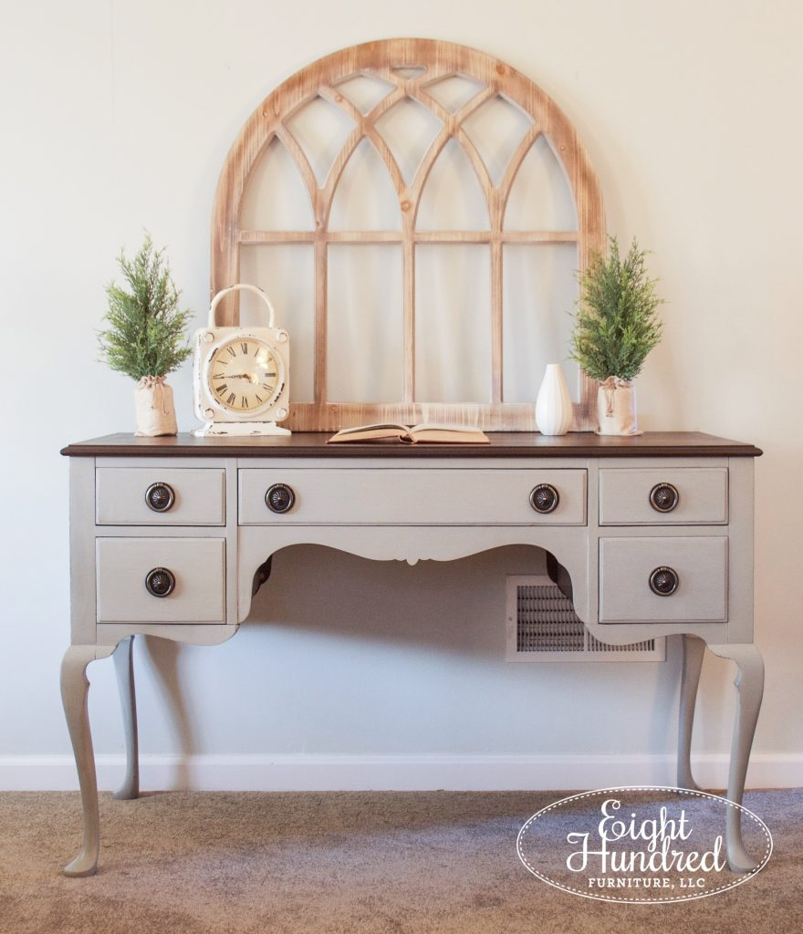 Queen Anne Desk in Farmhouse White Trophy mix by Eight Hundred Furniture