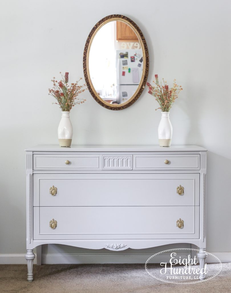 Vintage dresser in Seagull Gray Milk Paint by General Finishes, Eight Hundred Furniture