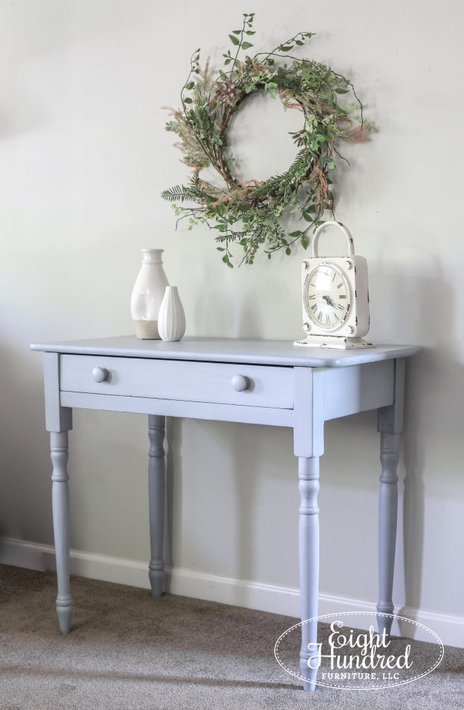 Writing desk in Shutter Gray Milk Paint by Miss Mustard Seed, Eight Hundred Furniture