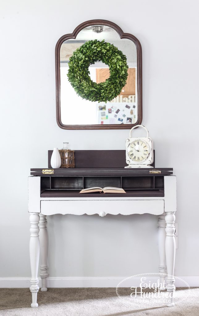 Spinet desk in Farmhouse White Milk Paint by Miss Mustard Seed with a Curio interior, Eight Hundred Furniture