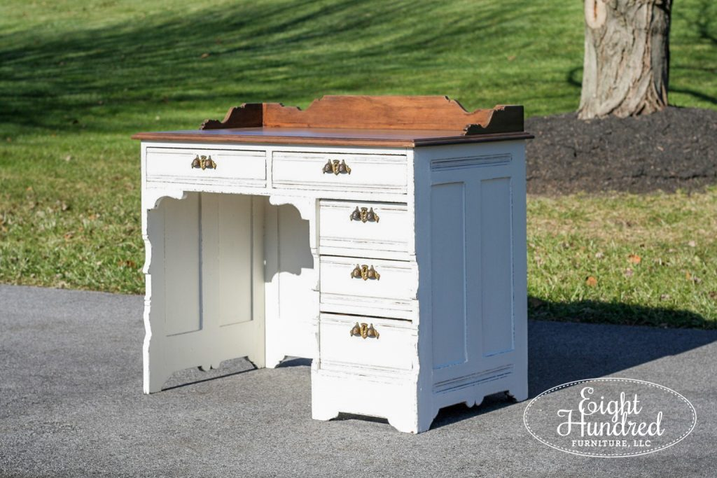 Antique Victorian Writig Desk by Eight Hundred Furniture in Farmhouse White Milk Paint