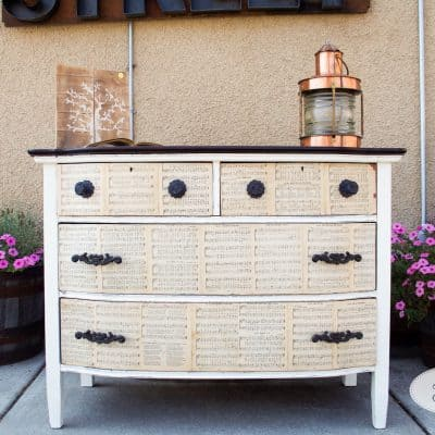 Antique dresser in Annie Sloan's Chalk Paint by Eight Hundred Furniture, Sheet Music Decoupaged Drawers