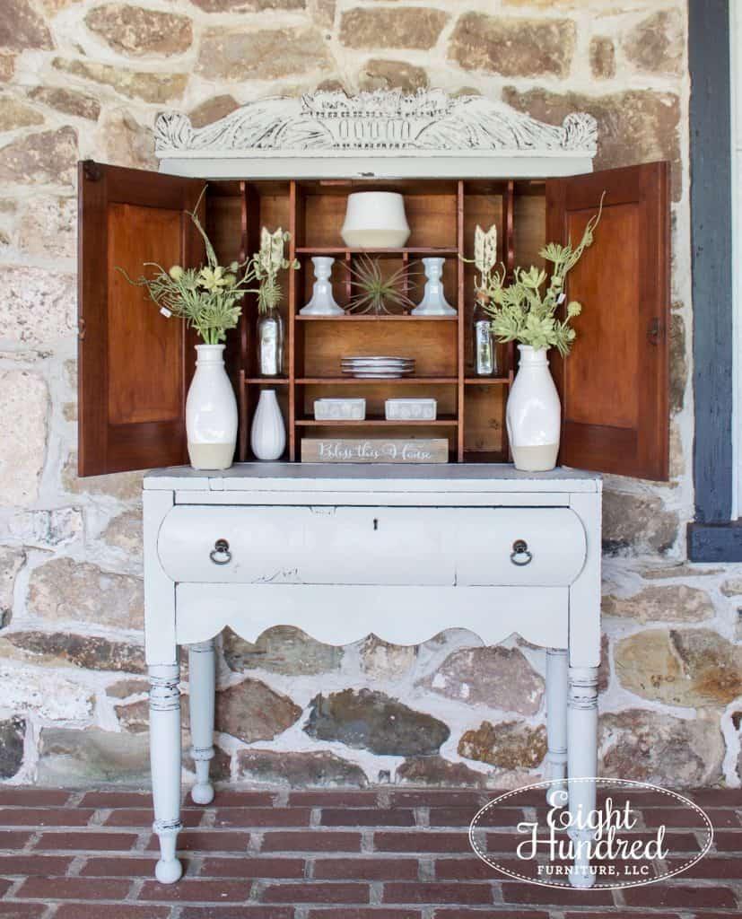Antique plantation desk painted in Grain Sack Milk Paint, Eight Hundred Furniture