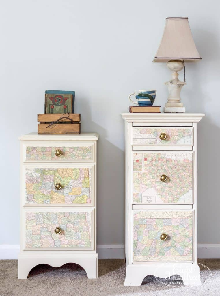 Nightstands in Millstone Milk Paint by General Finishes with Map Decoupaged Drawers by Eight Hundred Furniture