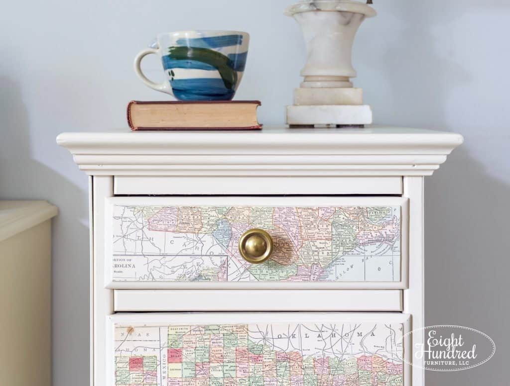 Nightstands in Millstone Milk Paint by General Finishes with Maps Decoupaged on the Front, Eight Hundred Furniture