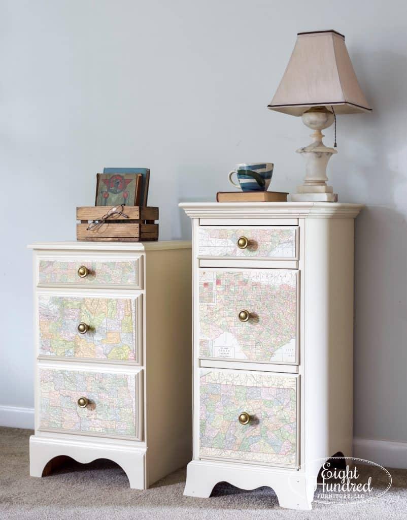 Linen Map Nightstands Eight Hundred Furniture