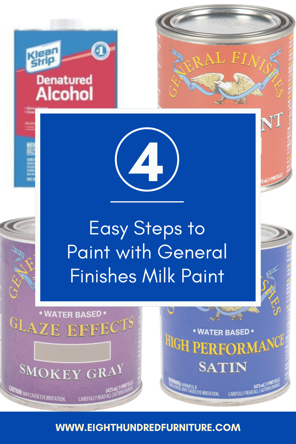 4 steps to paint with General Finishes Milk Paint