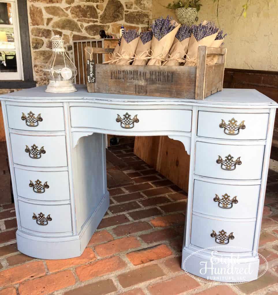 Shutter gray kneehole style desk using Miss Mustard Seed's Milk Paint