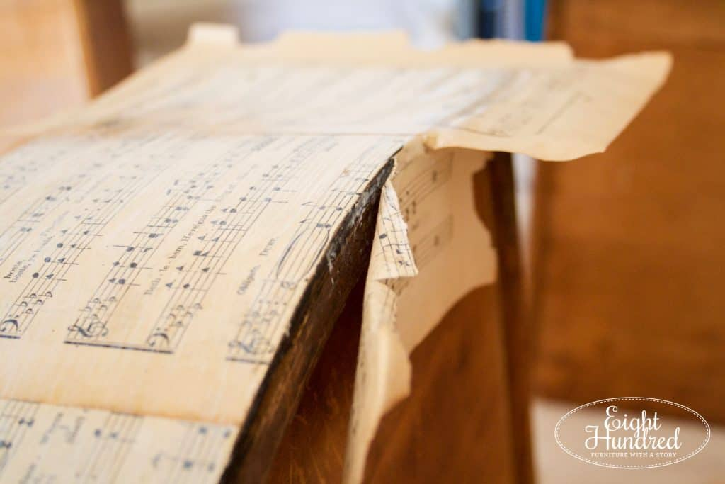 Removing sheet music from decoupaged dresser drawer