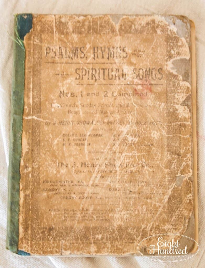 Antique Hymnal for decoupaging sheet music on dressers