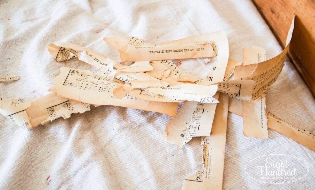 Antique sheet music scraps for decoupaging on dresser drawers