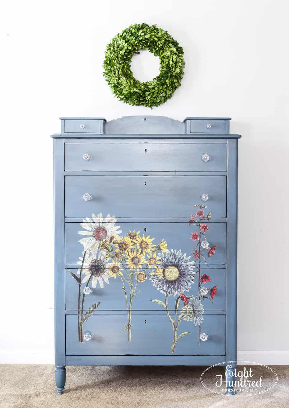 iron orchid, wildflower botanical, decor transfer, general finishes, general finishes milk paint, boxwood wreath, milk paint, walnut dresser