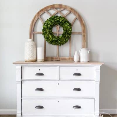 Brushable White Enamel Oak Dresser