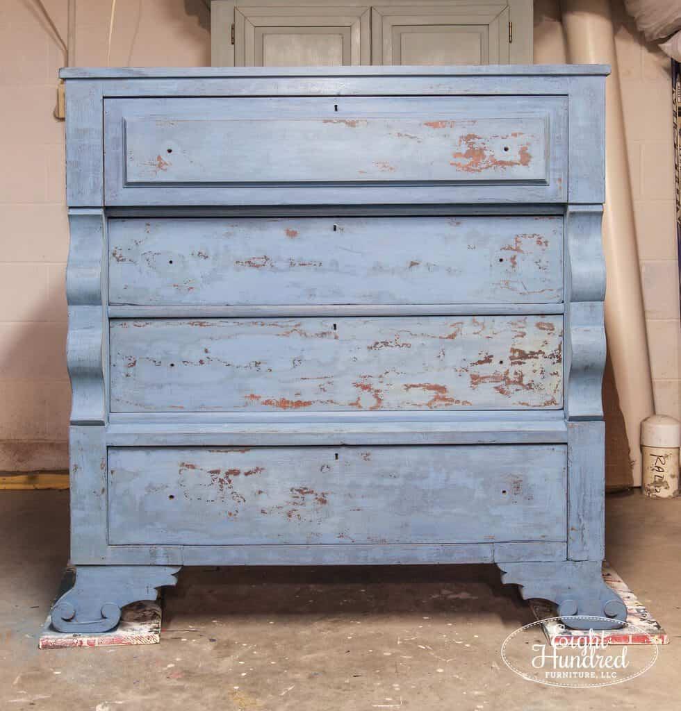 Full length shot, empire dresser, flow blue, artissimo, layered, miss mustard seed's milk paint