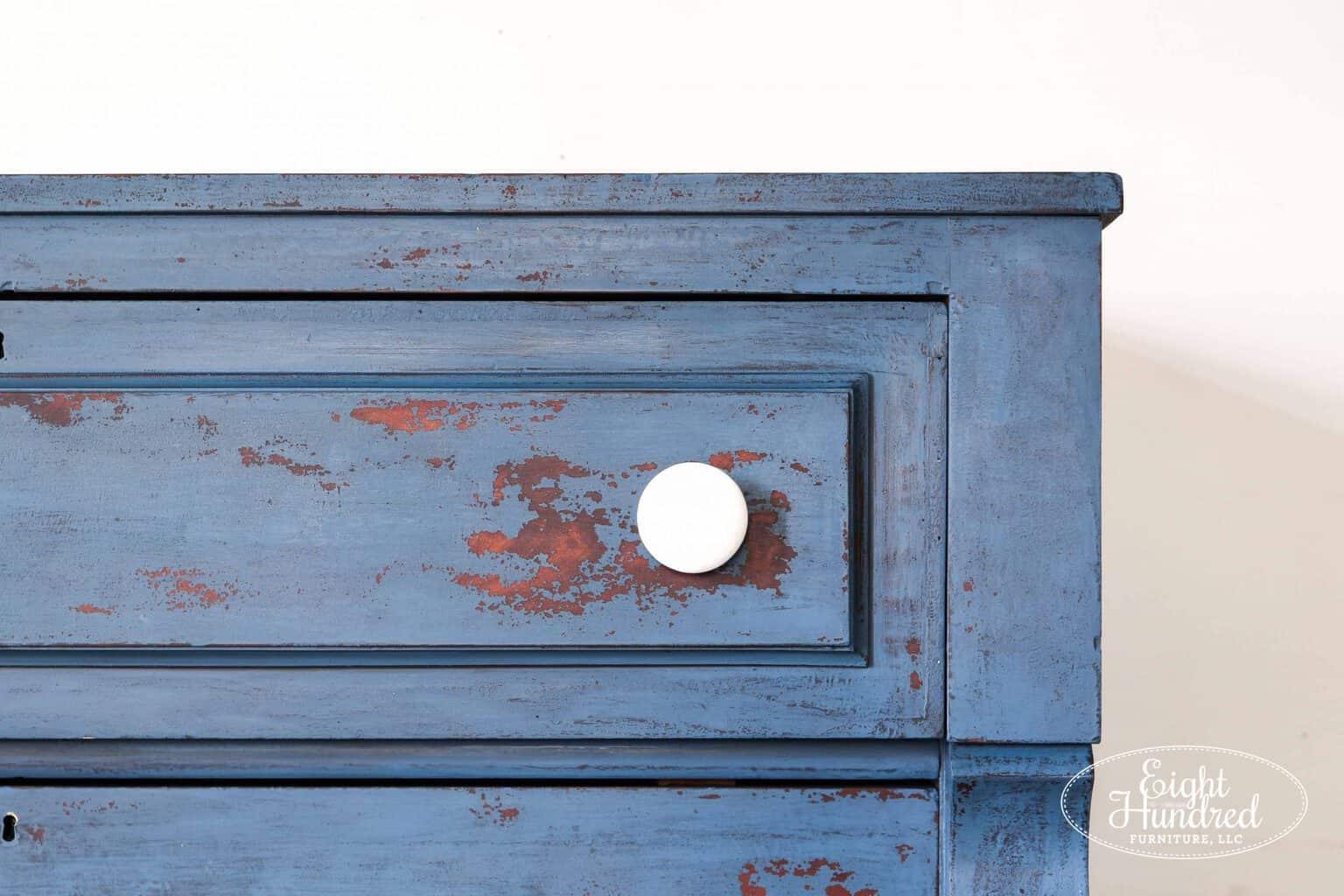 porcelain knob, empire dresser, miss mustard seeds milk paint, flow blue, artissimo, antiquing wax, hemp oil