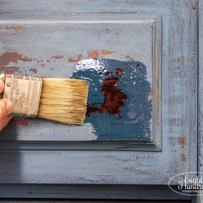 natural bristle brush, hemp oil, miss mustard seed's milk paint, flow blue