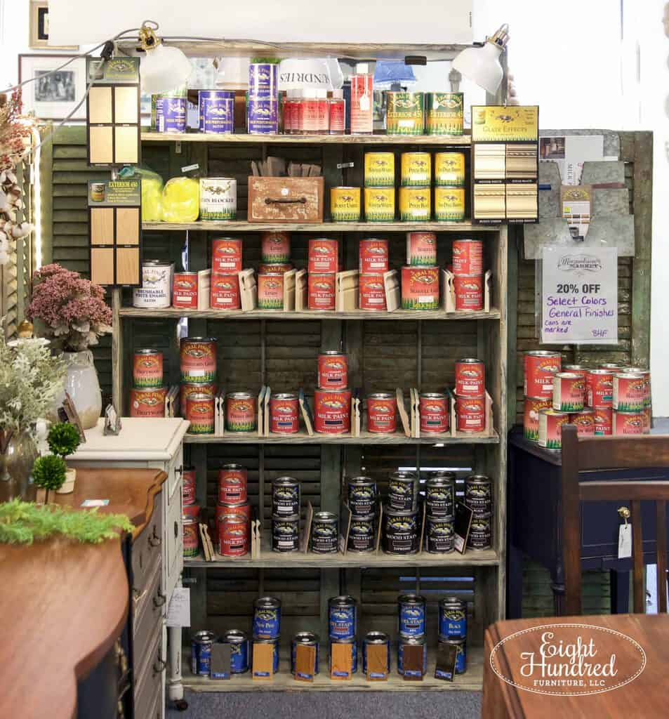 General Finishes, General Finishes Milk Paint, gel stain, water based wood stains, glaze effects, morgantown market, morgantown pa, antique co-op, antique shop, eight hundred furniture