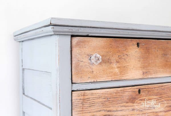 Side view of oak dresser painted in Miss Mustard Seed's Milk Paint with White Wax on oak drawers. Crystal knobs from DLawless Hardware