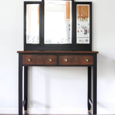 Vanity, DLawless Hardware, Antique Walnut Gel Stain, General Finishes, Lamp Black Milk Paint, Eight Hundred Furniture