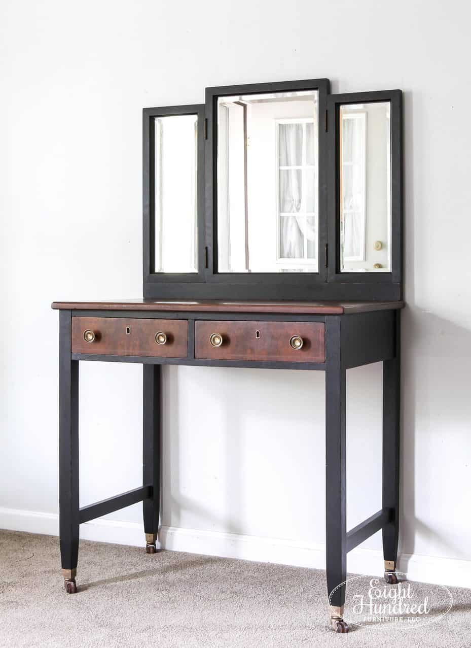 Vanity Antique Walnut Gel Stain, General Finishes, Lamp Black Milk Paint, Eight Hundred Furniture