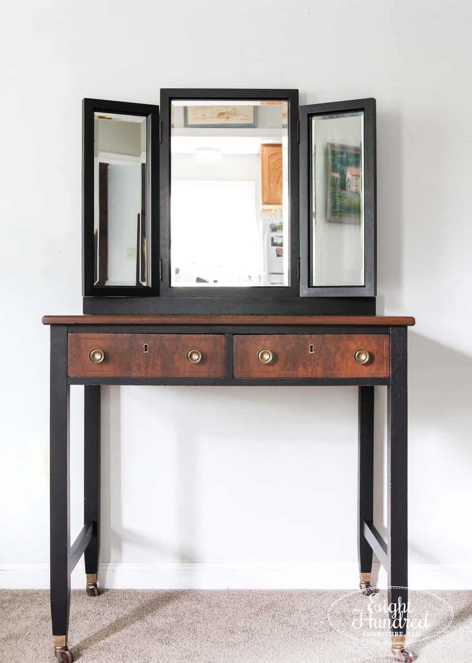 Vanity painted in Lamp Black Milk Paint and stained in Antique Walnut Gel Stain by General Finishes