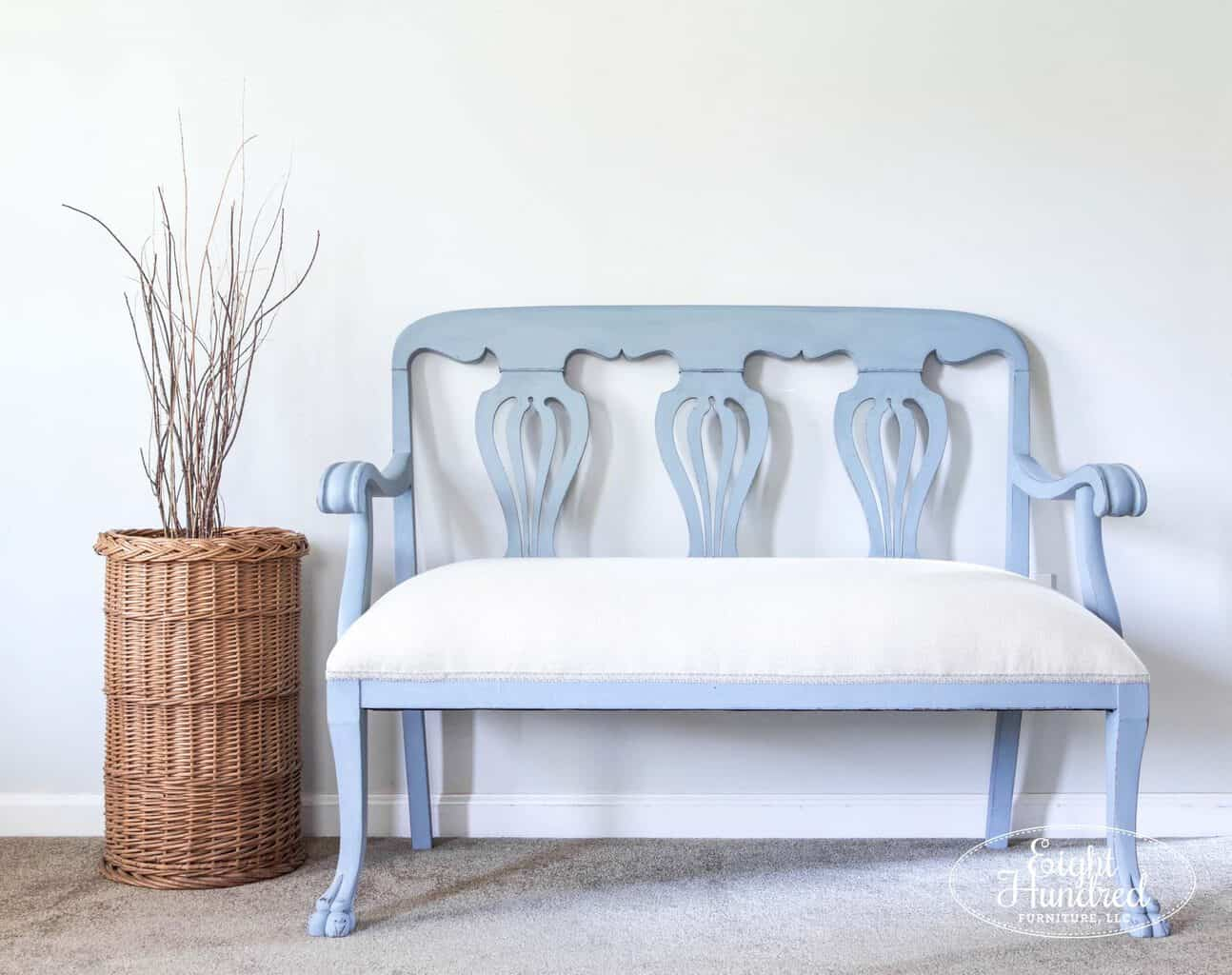 settee, chippendale, eight hundred furniture, bergere, miss mustard seed's milk paint, french scroll trim, sweet annie acres