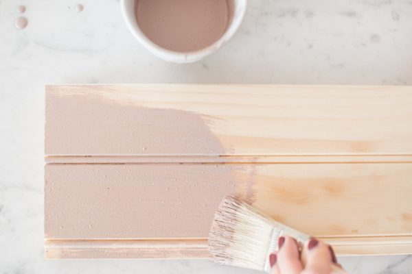Brushing on Arabesque milk paint