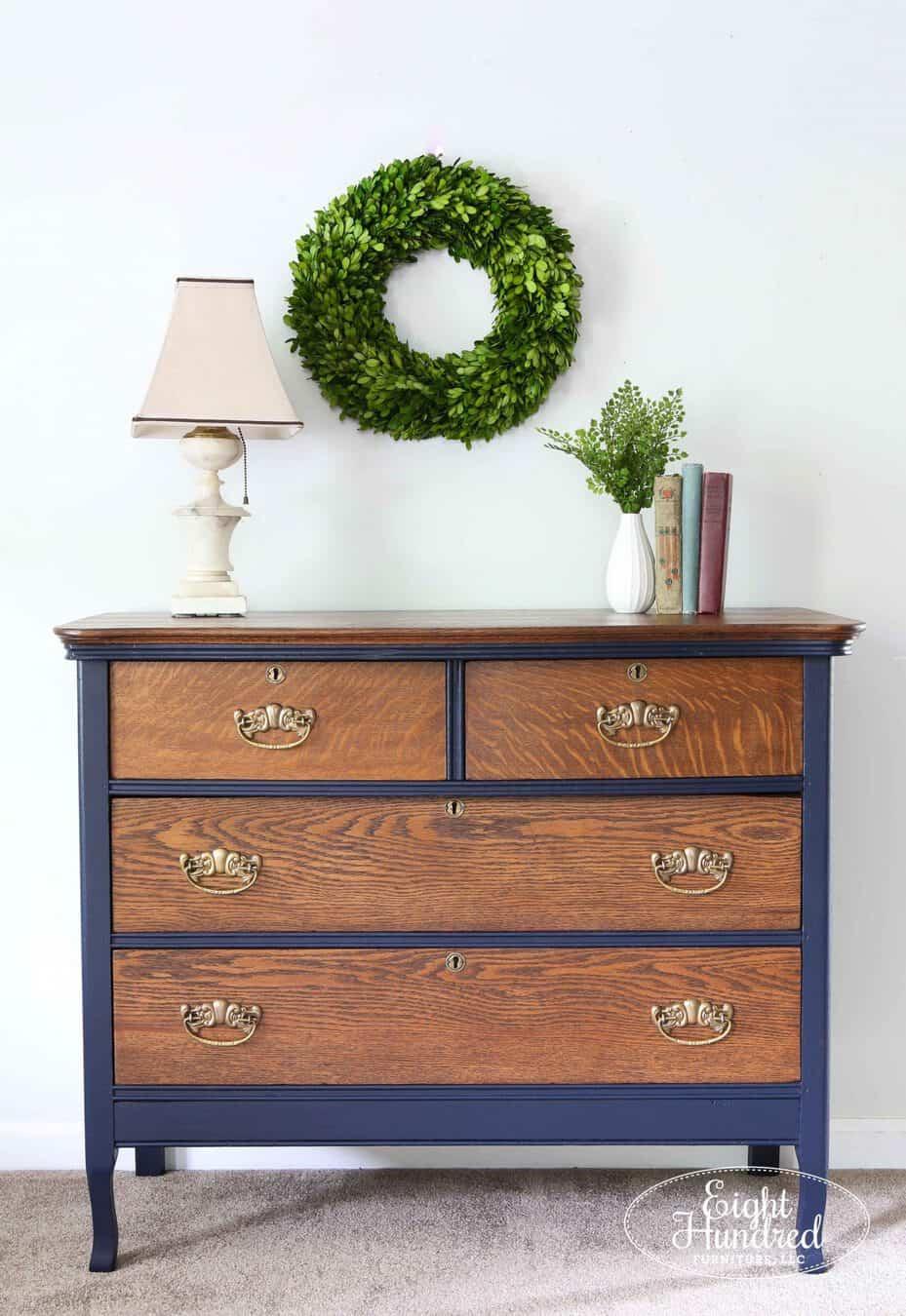 Full length shot of oak dresser