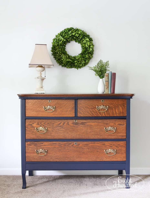 Full length vertical shot of oak dresser