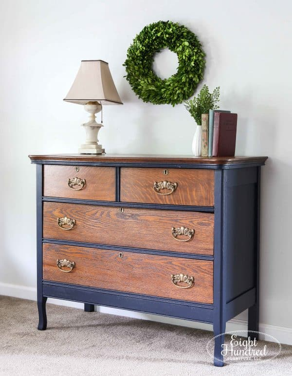 Side view of oak dresser in Coastal Blue Milk Paint and Antique Walnut Gel Stain by General Finishes