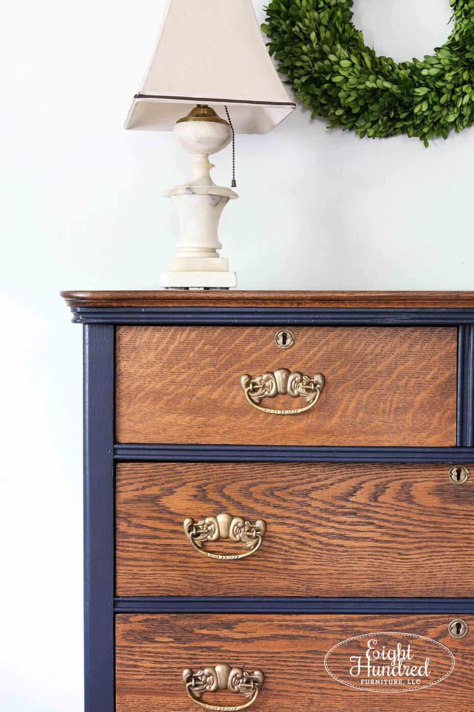 Vertical corner shot of oak dresser