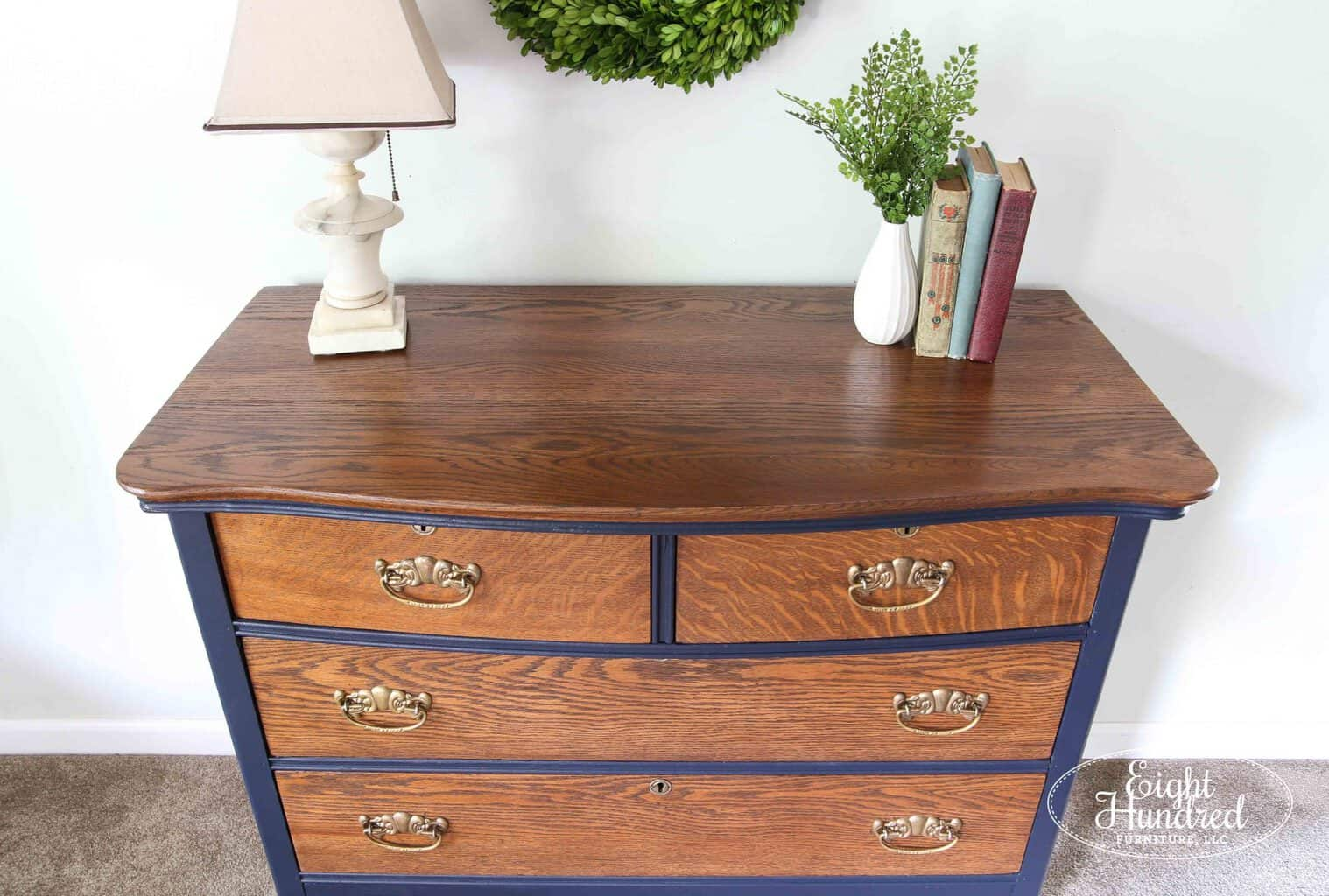Refinished top in General Finishes Antique Walnut Gel Stain
