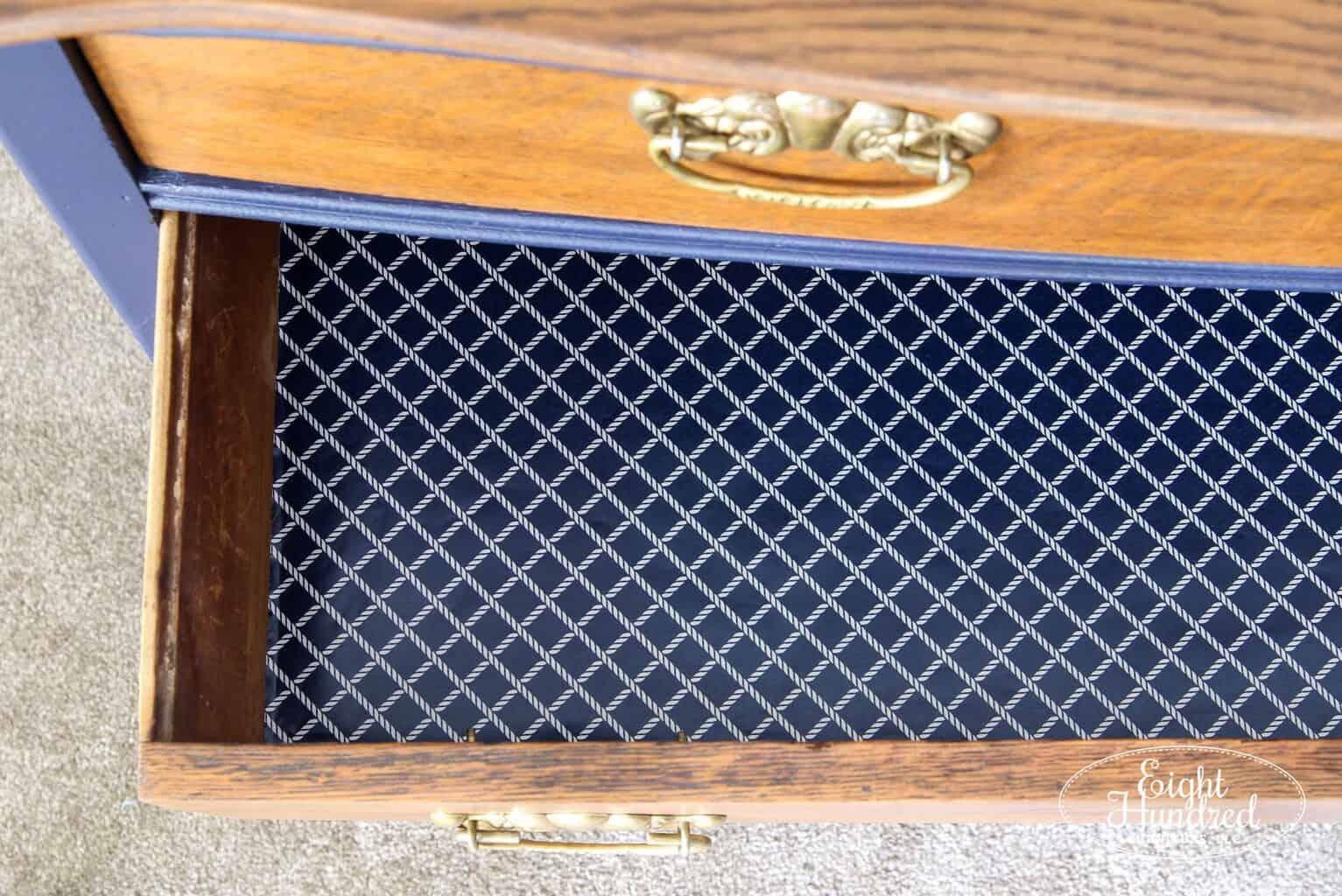 Lined drawers inside Coastal Blue Dresser