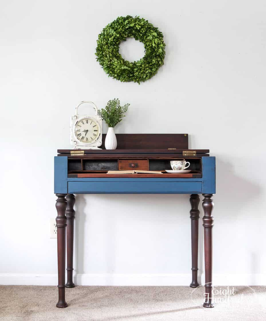 Spinet desk in flow blue and artissimo milk paint by miss mustard seed sealed in hemp oil by eight hundred furniture
