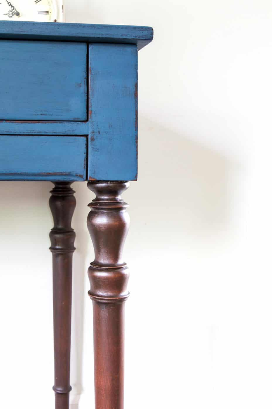 Refinished legs on flow blue desk, miss mustard seed's milk paint, arm r seal, antique walnut gel stain