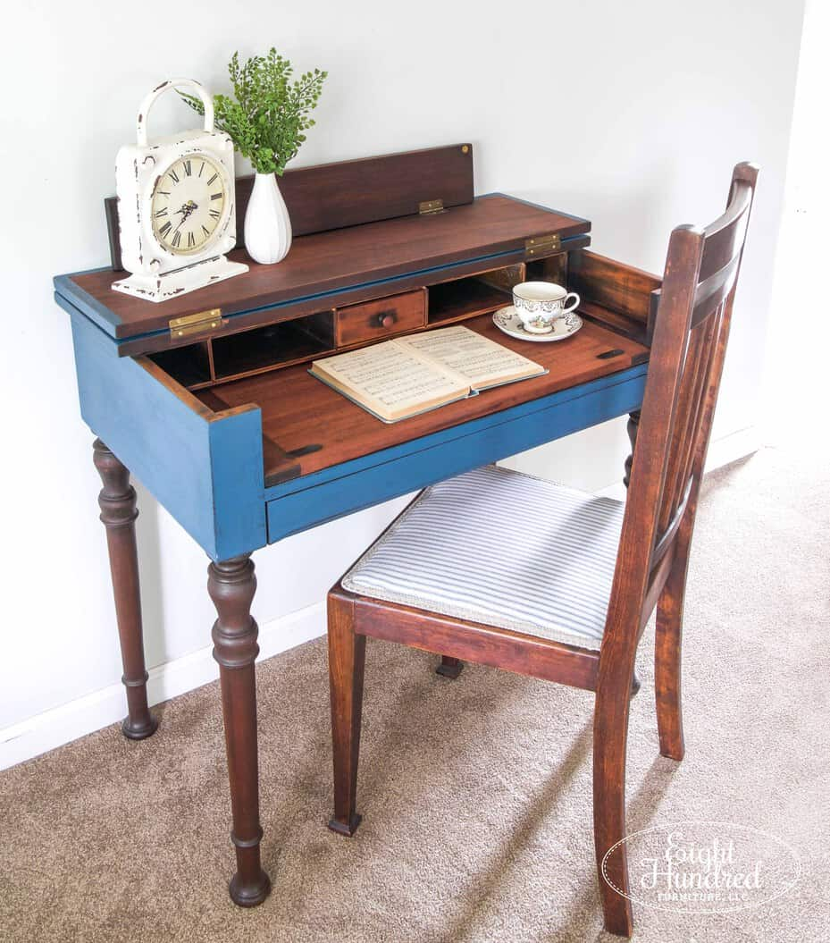 Spinet desk in flow blue and artissimo milk paint by miss mustard seed sealed in hemp oil with reupholstered chair in antique mattress ticking by eight hundred furniture