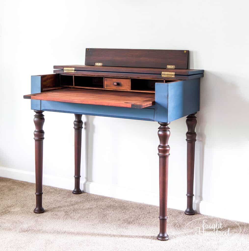 Spinet desk, flow blue milk paint, artissimo, miss mustard seed's milk paint, hemp oil, antiquing wax, antiquing wax, arm r seal