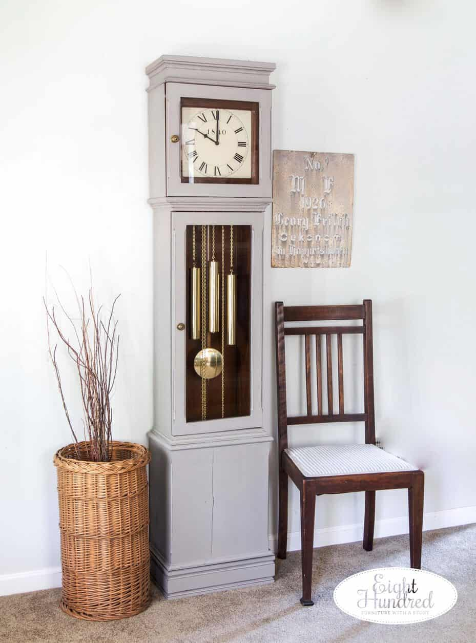 grandmother clock in schloss by miss mustard see's milk paint and sealed in hemp oil