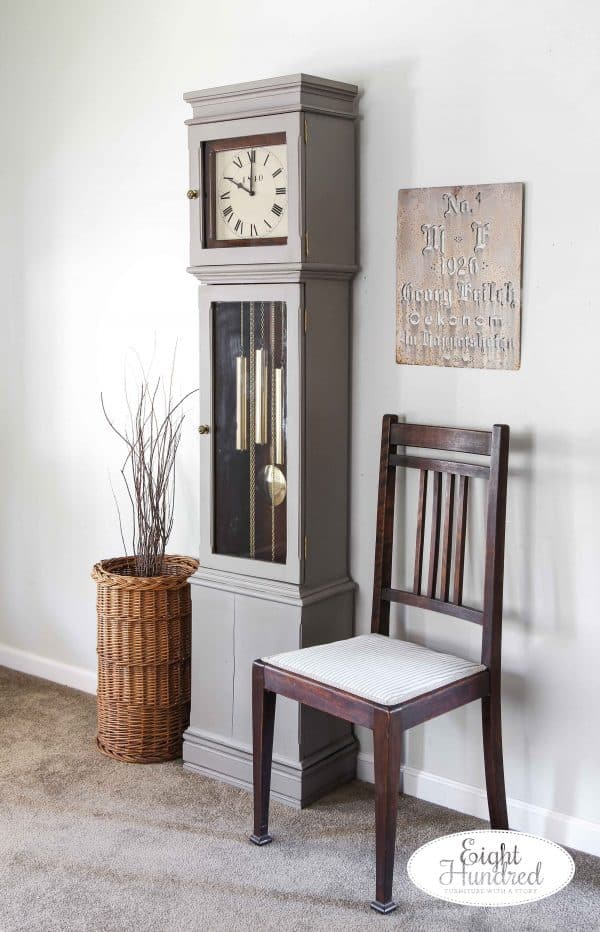Side view of grandmother clock in schloss and hemp oil by miss mustard seed's milk paint