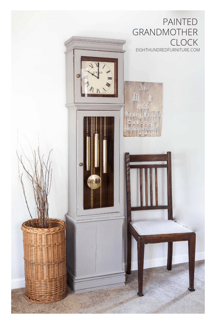 Pinterest image of grandmother clock in schloss by miss mustard seed's milk paint