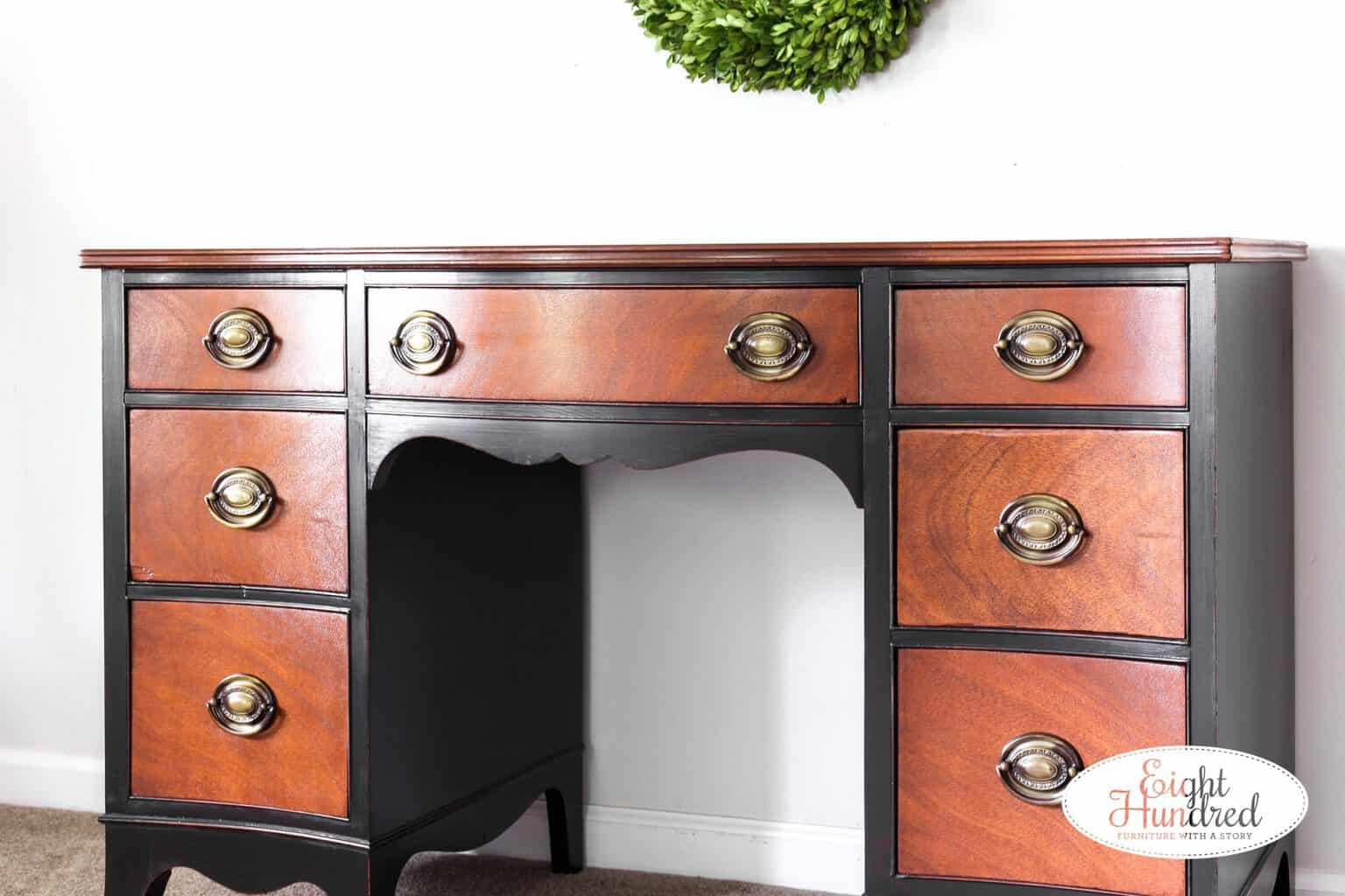 Side shot of lamp black desk with nutmeg gel stain by General Finishes, eight hundred furniture