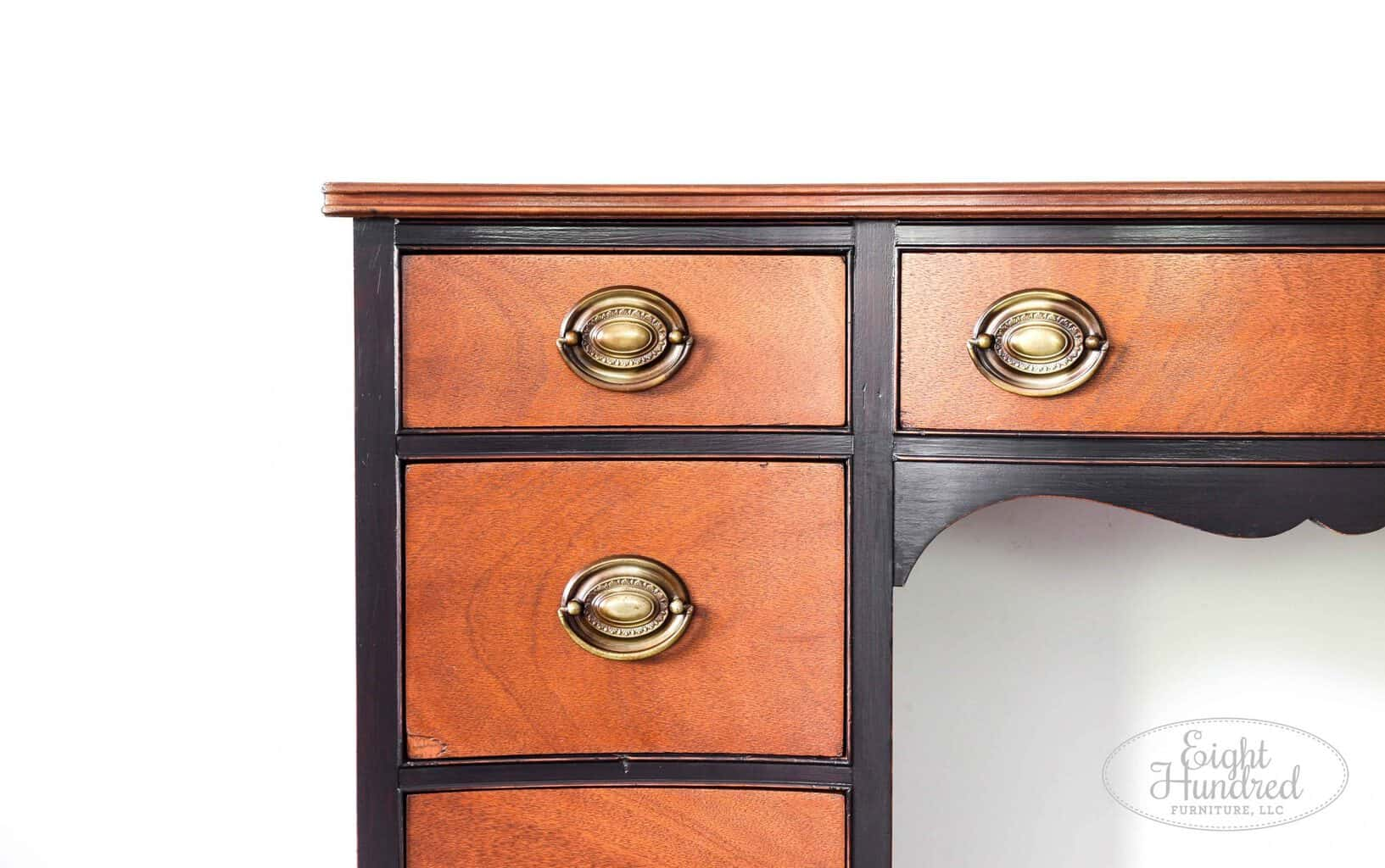 Wider corner shot of lamp black desk with nutmeg gel stain by General Finishes, eight hundred furniture
