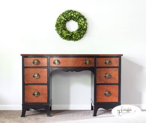 Nutmeg Gel Stain. Lamp Black Milk Paint, General Finishes, High Performance Topcoat, Eight Hundred Furniture, Federal Style, Hepplewhite Handles, Eight Hundred Furniture, Full length view