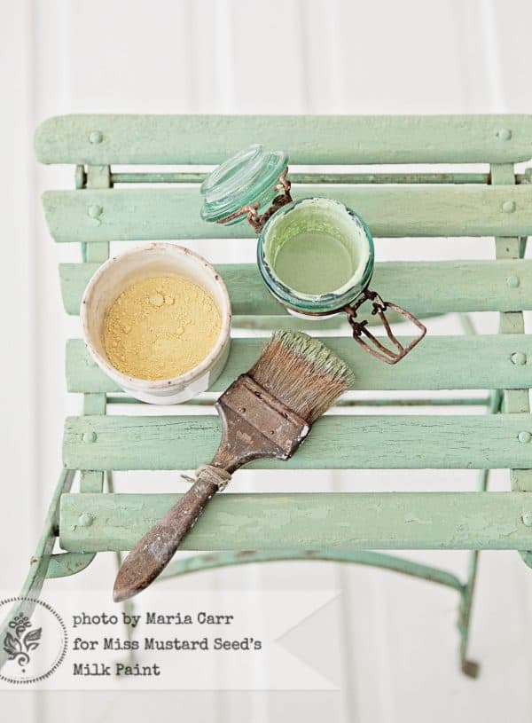 Lucketts Green Milk Paint powder on a vintage chair